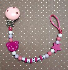★ Schnullerkette mit Namen ☆ Mädchen ★ Teddy Herz Geschenk Geburt Nuckelkette ★