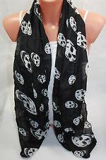 écharpe mode longue pour femmes mousseline Foulard d'été Tête de mort noir 45