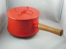 Dansk Kobenstyle Red Enamel Fondue Pot Sauce Pan Wood Handle France