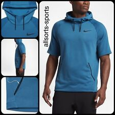 B15 Nike Dry-fit HYPER Fleece Short Sleeved Training Hoodie M Medium 833898-457