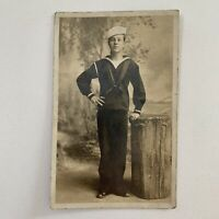Antique RPPC Photograph Postcard Handsome Young Navy Sailor With Log Gay Int