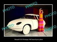 OLD LARGE HISTORIC PHOTO OF 1962 RENAULT CX15 PROTOTYPE LAUNCH PRESS PHOTO