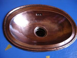 Moroccan hand hammered TARNISHED COPPER  shallow oval sink wash basin  30 x 23cm
