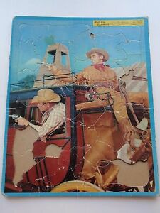 Vintage Built Rite Wild Bill Hickok Frame Tray Puzzle Western Show Stagecoach