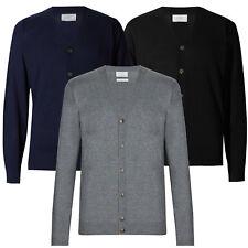 Marks & Spencer Mens V Neck Cotton Blend Cardigan New M&S Soft Fine Knit Cardie