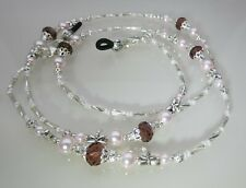 Spectacle Sunglasses Eyewear Beaded Chain - Pink Pearl & Silver Dragonfly