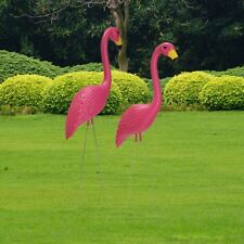 AU  2pcs 31'' Pink Flamingos Plastic Yard Garden Lawn Ornaments Decoration Retro