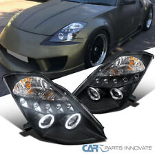 For Nissan 03-05 350Z Z33 Fairlady LED Halo Projector Headlights Lamps Black