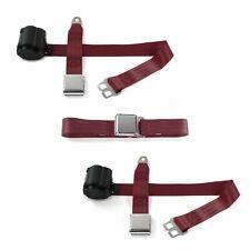 Ford 1949 - 1951 Airplane 2pt Burgandy Retractable Bench Seat Belt Kit - 3 Belts