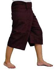 Dark Brown Toray - 3/4 Men Women Thai Fisherman Pants  Yoga Trousers by Thai Spi
