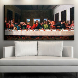 Classic Oil Painting The Last Supper Canvas Painting Living Room Bedroom Porch Wall Art Pictures Home Decor Posters painting Inch Color : 1, Size : 30x60cm