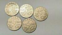 5 LOT FIVE CENTS CANADA COINS 1931 1931 1931 1932 1933