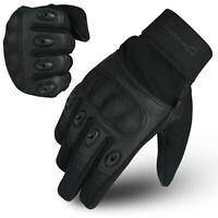 WFX Carbon Fiber Hard Knuckle All weather Biker Motorbike Motorcycle Gloves