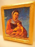 Virgin Mary with Child Jesus Christian Roman Catholic Art Icon on Wood Plaque