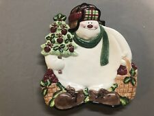 Fitz And Floyd Apple Tree Snowman Canape Plate 2063/26