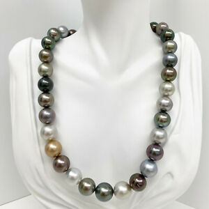 """Tahitian Pearls Necklace Loose Strand Round 12mm-14mm Multi-colored 16"""" AAA"""