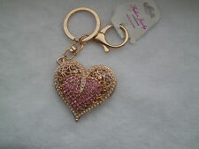 PINK Crystal Pearl Heart Pendant Key Chain Purse Bag Pendant