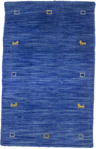Small Entrance Hand-Loomed Wool 2X3 Solid Blue Oriental Rug Home Decor Carpet