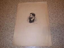 1890.Portrait d'Octave Uzanne sur Japon avec sa signature autographe.
