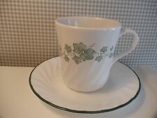 Corelle/Corning CALLAWAY IVY Coffee MUGS and SAUCERS ~ 6 Sets