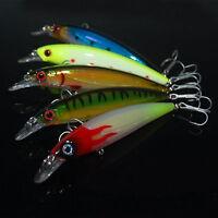 5PCS Big Minnow Fishing Crankbait Fish Bass lure hook baits 13.5m//24g