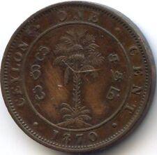 CEYLON SRI LANKA VICTORIA ONE CENT 1870 KM 92
