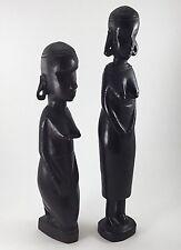 Vintage 1960's Hand Carved Tanganyika  Ebony Wood African Female Figures