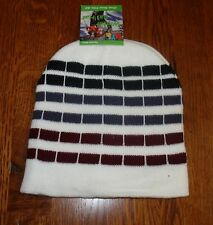 White Black Checked Striped Beanie Knit Cap Winter Hat