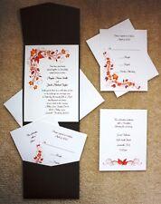 100 Personalized Custom Ivory Fall Autumn Pocket Bridal Wedding Invitations Set