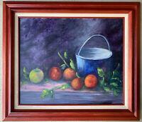 JEAN Original Still Life Fruit Pail Oil Painting Signed Framed