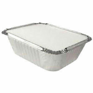 100 x Quality Aluminium Foil Containers Size-2 with LIDS Trays Takeaway Baking