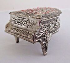 Vintage Japan Piano Music Metal Red Fabric Jewelry Box Angel plays Love Story