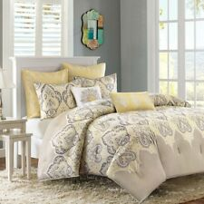 Luxury Yellow & Grey Updated Paisley Comforter Set AND Decorative Pillows
