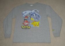 Pokemon Advanced Long Sleeve T Shirt Boys Large Gray featuring Ash Pikachu Lugia