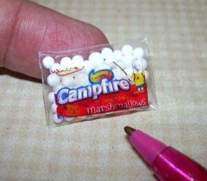 "Miniature ""Cindi's Minis"" Brand Bag of Marshmallows, 5/8"" x 1"": DOLLHOUSE 1/12"