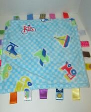 Taggies Blue checks squares cars train plane boat bike Baby Security Blanket