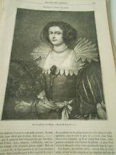 Un portrait d'après Van Dyck 1869 Gravure Oldp Print