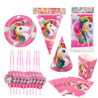 Unicorn Party Tableware Set Banner Baby Shower Birthday Party Decor Supplies