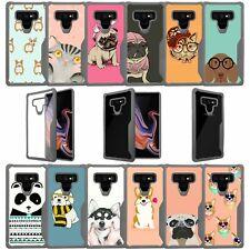 For Samsung Galaxy Note 9, Bumper Clear Case w/ Grey Silicone Edges - Cute Pets