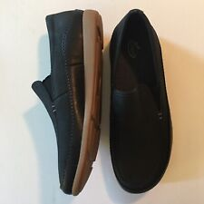 """Chaco """"Montrose"""" Men's Sz 9 Black Leather Slip On Shoes Loafers Moc $130"""