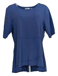 Isaac Mizrahi Live! Women's Top Sz L Elbow Sleeve Peplum Flounce Blue A303962