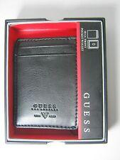 Guess Men's Front Pocket ID Wallet Magnetic Money Clip Black 31GO160002 $42