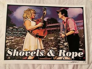 SHOVELS & ROPE PRISON ART CONCERT POSTER ORANGE PEEL ASHEVILLE NC SCREEN PRINT