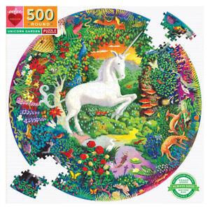 eeBoo 500 Pc Round Puzzle – Unicorn Family Puzzle 01549
