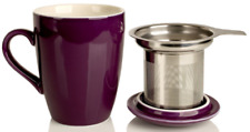Adagio Porcelain Tea Cup/Mug With Stainless Steel Infuser Plum 12oz