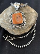 Native American Sterling Silver Navajo Pearls Orange Spiny Oyster Pendant 772