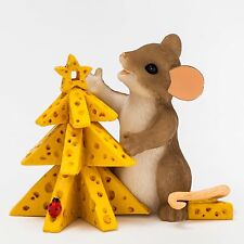 New Charming Tails Mouse Figurine Christmas Cheese Tree Mice Statue Holiday Food