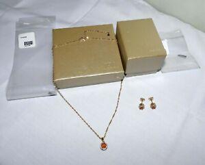 JTV Orange Mexican Fire Opal Necklace & Halo Earrings Set NEW NXH038 NXH039