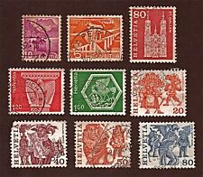SWITZERLAND, 9 1934-77 Architecture, Handicrafts +Stamps, Used, See Descr FUS537