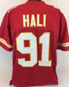 Tamba Hali Unsigned Custom Sewn Red Football Jersey Size - L, XL, 2XL